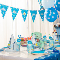 Happy 1st Prince Themes Birthday Party Decorations Set Kids Birthday Party Blowout Staw Tablecloth Mask Event