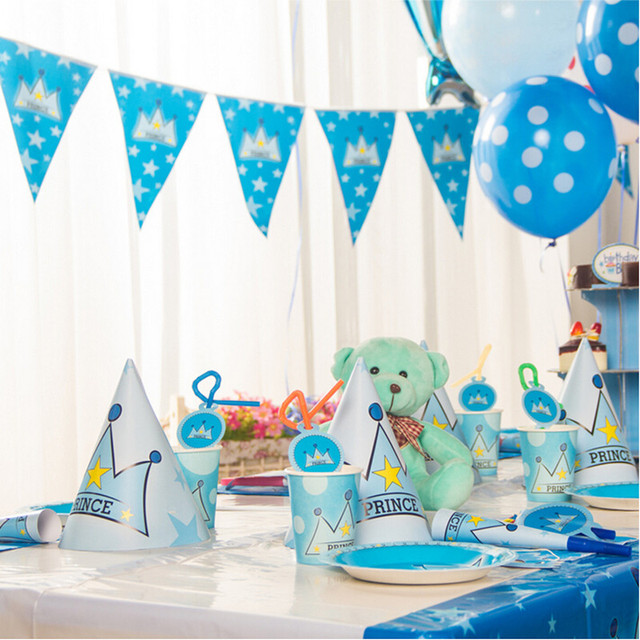 Happy 1st Prince Themes Birthday Party Decorations Set Kids Birthday ...