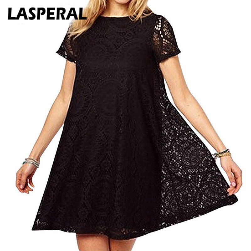 LASPERAL Plus Size 5XL Elegant Dress Women Fashion Female Summer Style A-Line Short Sleeves Hollow Out Lace Sexy Dresses Vestido