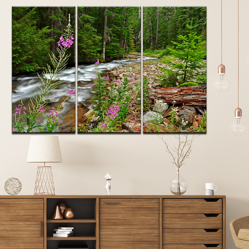 Wall Art Pictures Home Decor Posters Frame Living Room 3 Pieces Forest River Falls Natural Scenery HD Canvas Printed Painting