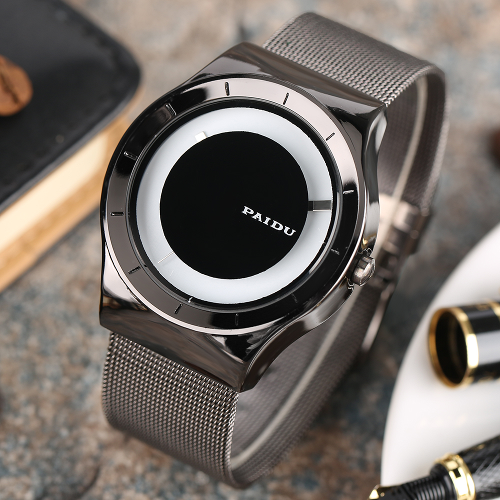 Mens Watch PAIDU Full Stainless Steel Mesh Band Fashion Creative Turntable Quartz WristWatch Male Female Clock Wedding Xmas