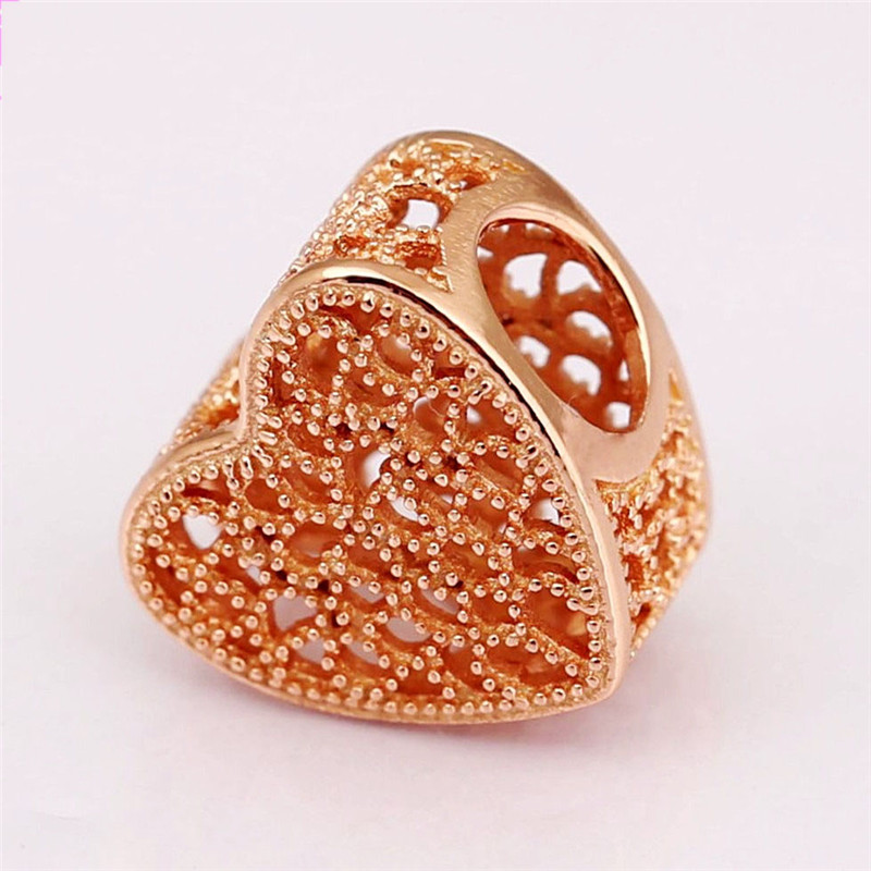 925 Sterling Silver Rose Filled with Romance Openwork Heart Charm Fit Original Pandora Bracelets Bangles Women DIY Jewelry Gift in Beads from Jewelry Accessories