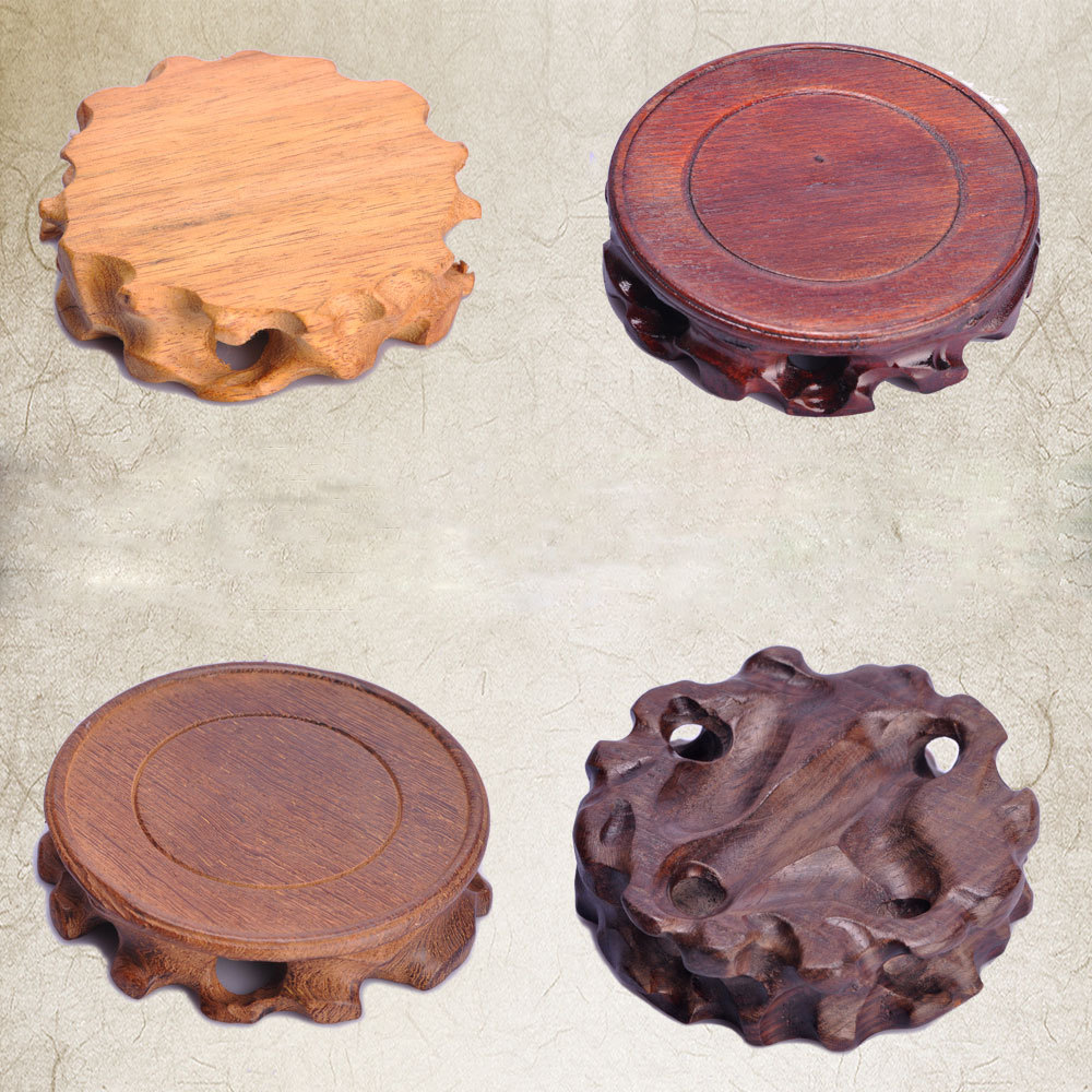 Wood Round Wooden Tray Teapot Stone Vase Flower Pot Base in Mats Pads from Home Garden