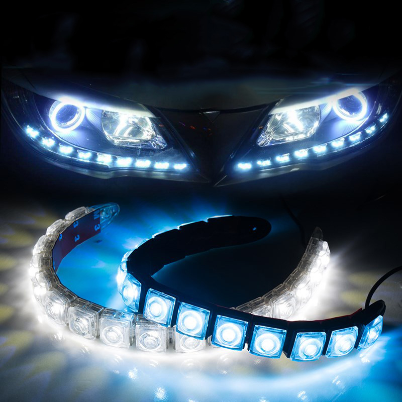 Taitian 2Pcs 12V COB LED Strip light car bar drl led daytime running lights for benz volvo mazda audi honda bmw ford toyota Kia