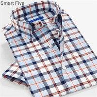 Smart Five Casual Shirts Men 2017 Summer 100 Cotton Short Sleeve Male Shirt Brand Clothing Plaid