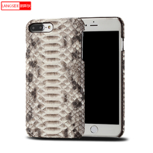 Genuine Leather Python skin Scratchproof phone case for iphone x 6 7 8 8plus 5 5s SE Soft touch Luxury half pack protective