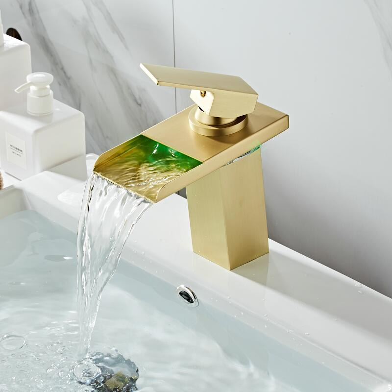 Bathroom Basin Faucet LED Faucet Brushed Gold Sink Waterfall faucet Single Hole Cold Hot Gold Tap Basin Mixer Tap TorneiraBathroom Basin Faucet LED Faucet Brushed Gold Sink Waterfall faucet Single Hole Cold Hot Gold Tap Basin Mixer Tap Torneira