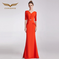 CONIEFOX 32685 оранжевый Лодка шеи модные пикантные Русалка Дамы ретро элегантность аппликации платья для выпускного вечера Вечерние вечернее пл