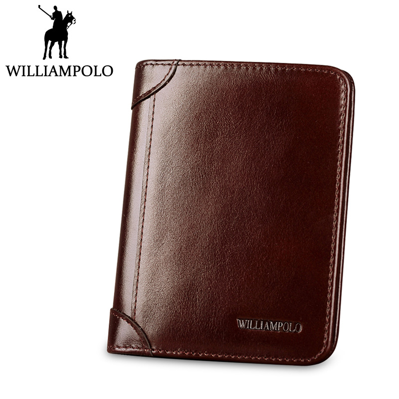 WILLIAMPOLO Short Purse Men Wallet Genuine Leather Bi-fold Trifold Design Cowhide Small Wallet Brown Black gothic skull cross rivet cow leather double fold wallet brown