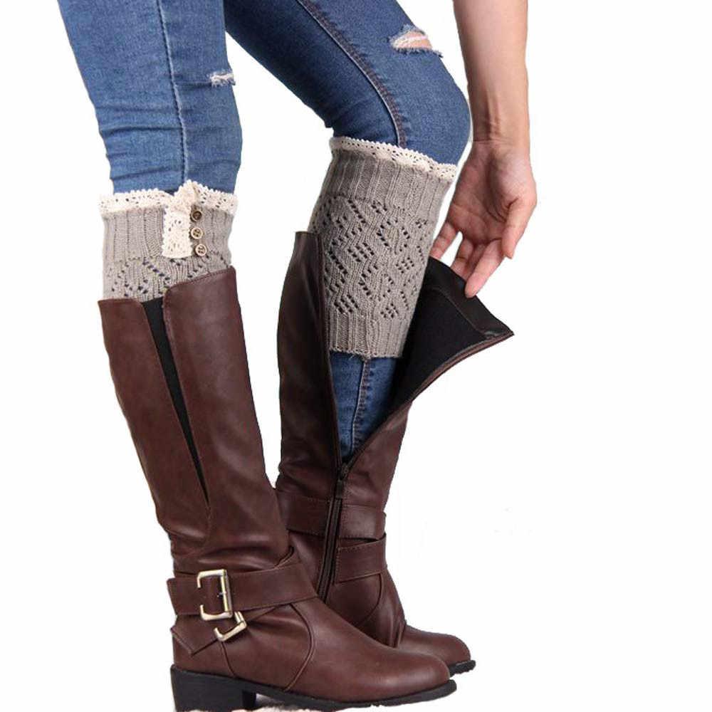Потрясающие Модные женские зимние теплые гетры, вязаные высокие сапоги, вязаные крючком, Носки Новое поступление ботинки носки Прямая поставка 1a16