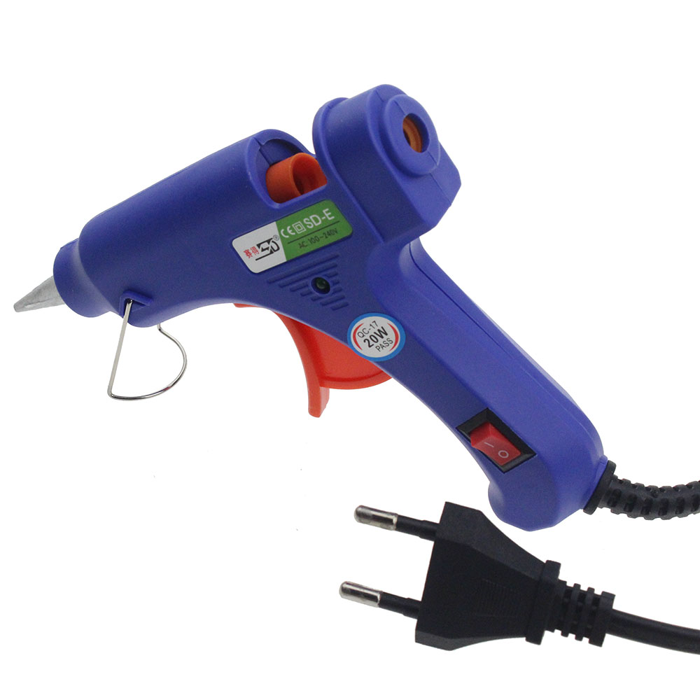 High Temp Heater Melt Hot Glue Gun 20W Repair Tool Heat Gun Blue Mini Gun With Trigger US/EU plug 100-220V newacalox industrial 150w eu plug hot melt glue gun with 1pc 11mm stick heat temperature tool guns thermo gluegun repair tools