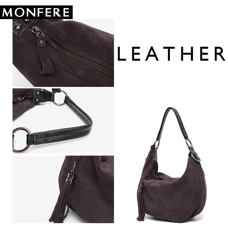 MONFERE Women Real Split Suede Leather Shoulder Bag Female Pillow Leisure  Nubbuck Casual Handbag Hobo Messenger. sku  32935354277 2e6622aef39f3
