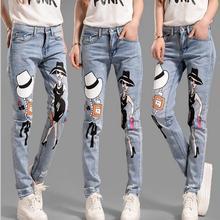 2017 fashon Корейский личность свободные крах брюки ноги Европейский и Американский стиль мультфильм ковбой отверстия печатных джинсы w266