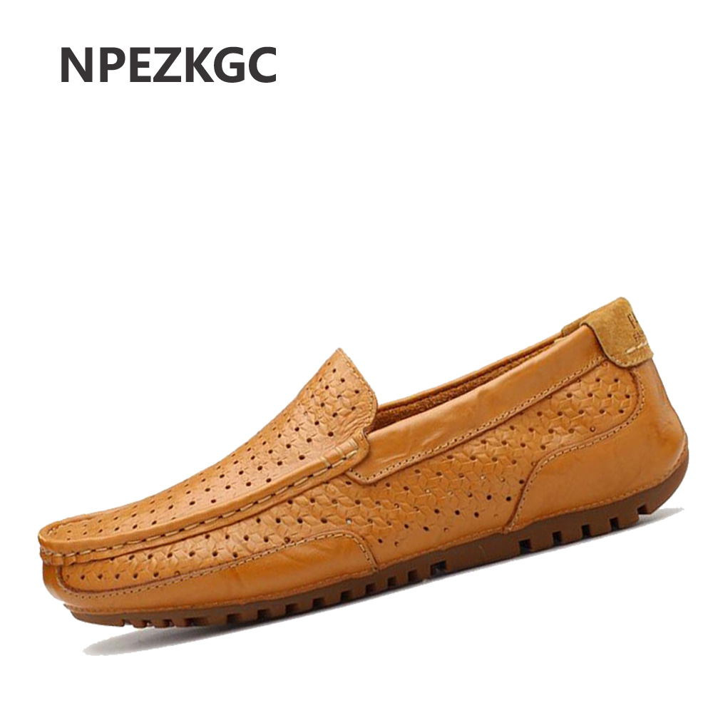 NPEZKGC New Arrival Mens Shoes Casual Cow Leather Men Loafers Moccasins Fashion Breathable Low heel Slip