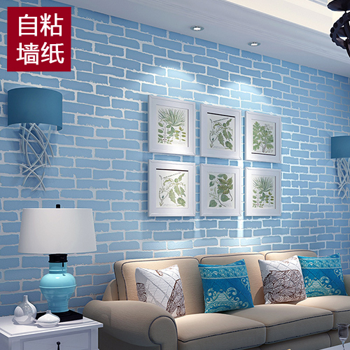 Sticker Light Blue 3 D Brick Grain Bedroom Retro Wall Paper Porch Stick Sticky Wallpaper