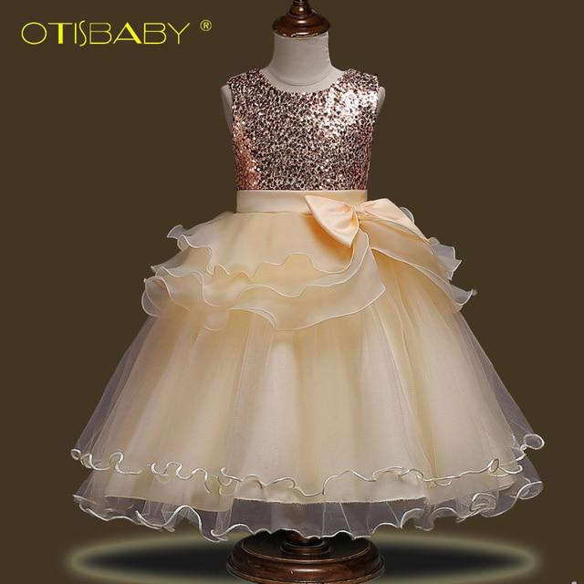 ab3d0e7f469 New Year Fancy Elegant Flower Girl Dresses Fashion Baby Sequins Tulle  Princess Tutu Dress for Wedding Teenage Girls Clothing