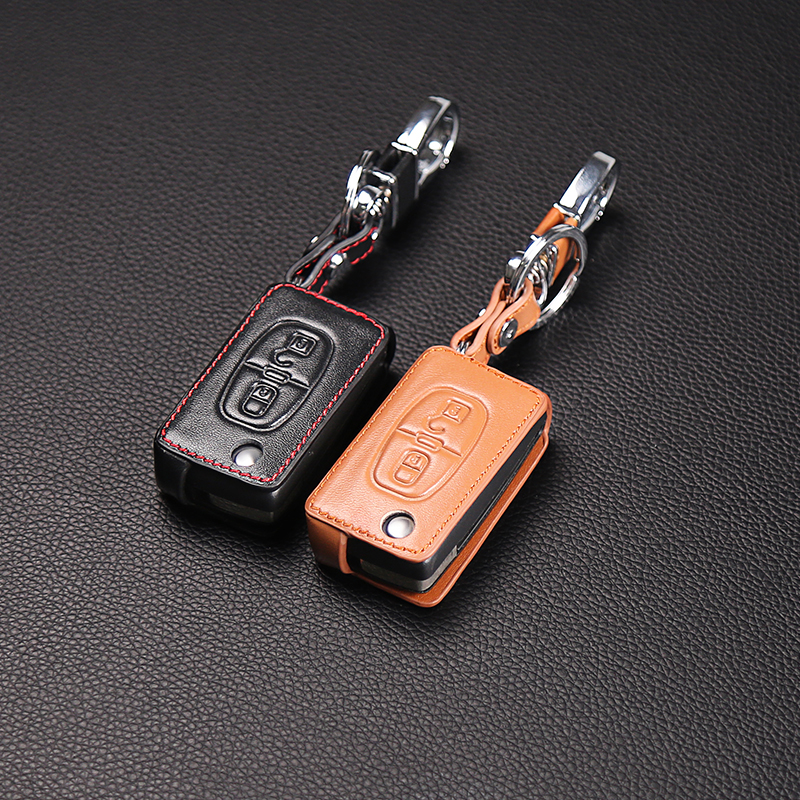 Genuine Leather key chain ring cover case holder For Peugeot RCZ 206 207 306 307 308 407 408 For Citroen C2 C3 C4 C5 C-quatre jingyuqin silicone case for peugeot 208 207 308 rcz 408 407 307 206 for citroen c4 c5 c3 c2 c4l xsara picasso car flip key cover