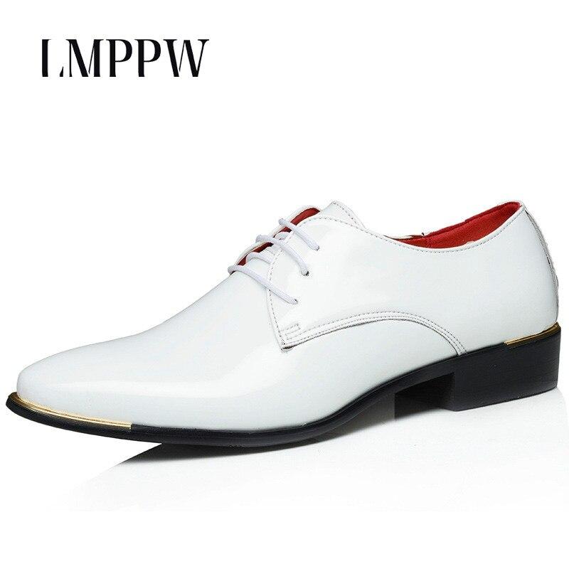 e65c068668214 Brand Men s Business Dress Shoes for Men Wedding Shoes Plus Size Patent  Leather Oxford Shoes Breathable Men Flats White Black 2A