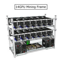 Up To 14 GPU Mining Frame Without Led Fan Aluminum Stackable For Ethereum BTC Mining Case