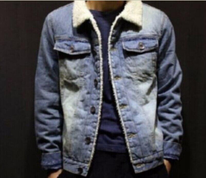 Spiksplinternieuw mens fur lined slim denim warm coats fleece jean cowboy jackets LK-42