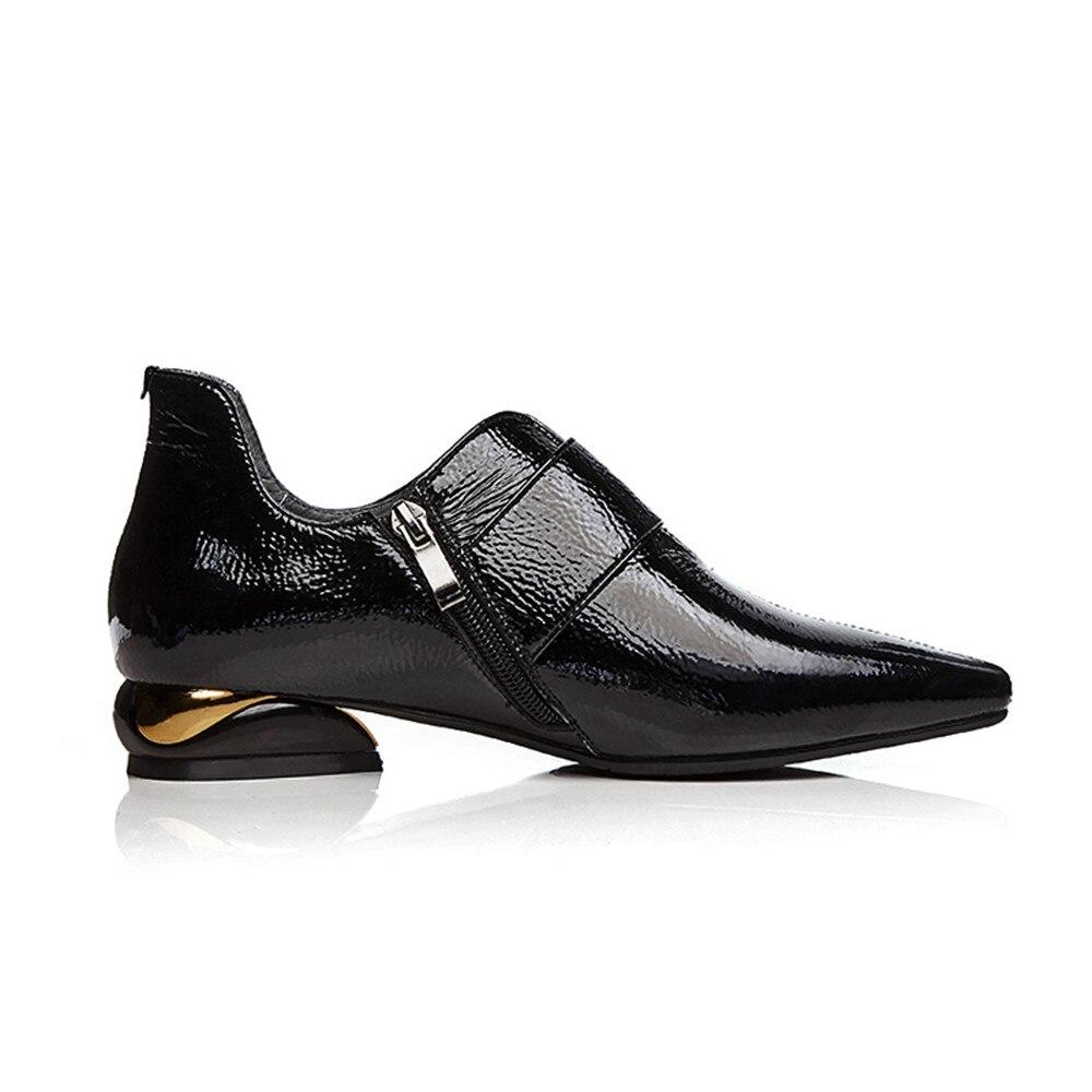Oxford Schuhe für Frauen Schwarz Aus Echtem Leder Flach Spitz Casual Schuhe Zipper plus größe 34 42 TN01 MUYISEXI-in Flache Damenschuhe aus Schuhe bei  Gruppe 3