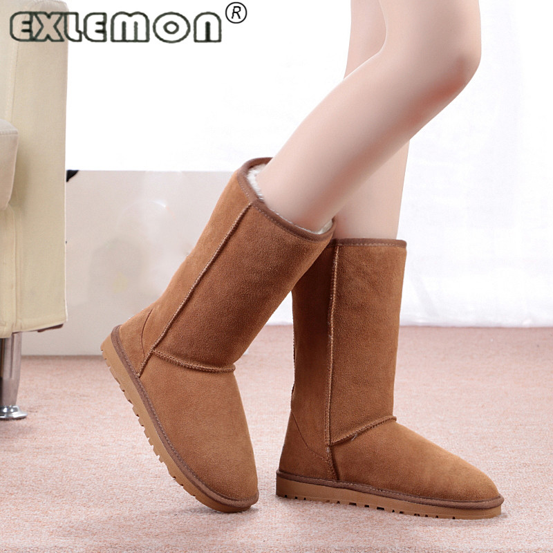 2017 Australia Long Winter Female Sale Fur Women's Bota Snow Boots High Flat Shoe with Tall Genuine Leather for Women chaussure