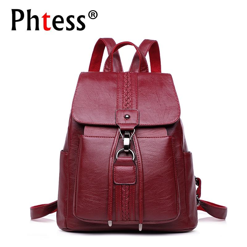 купить 2018 Women Vintage Leather Backpacks Ladies Sac a Dos Female Backpacks For Girls Large Capacity Travel Shoulder School Bag Girls по цене 1516.11 рублей