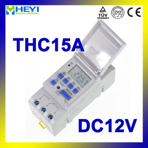 THC15A time relay 12VDC 16A LCD Din rail Programmable digital timer switch