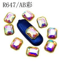 10 pcs Korean new nail art jewelry diamond long octagonal DIY stickers rhinestones,H87