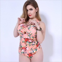 YONGENTLE 2018 Sexy Large Code Floral Pattern Swimwear Women Swimsuit Push Up One Piece Suits XL