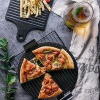 Runde BBQ Pizza Gericht Griff Quadrat Pizza Grillpfanne Heizbar Brot Schneidebrett Küche hackklotz