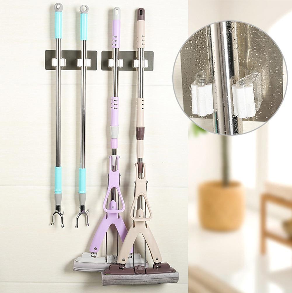 New 5 Position Kitchen Shelf Broom Holder With PVC Hanging Kitchen Storage Tool 1