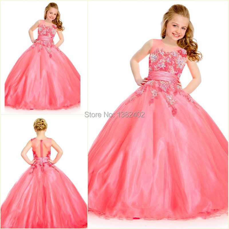 0627c317fc7 Girl Pageant Kids 2014 Scoop Crystal Ball Gown Evening Gown Kids Designer  Flower Girl Dresses 2015