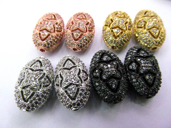 AAA 12pcs 10x14-25mm Micro Pave set cubic zirconia beads oval egg diamond silver gold gunmetal rose gold charm connector 25mm mens boys gold