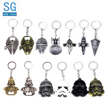 SG New Hot Sale Star Wars Keychains Black Warrior Darth Vader Spaceship Falcon Craft Alloy Pendant Car Keyring Men Movie Jewelry famshin high quality top 2018 star wars keyring light black darth vader pendant led keychain for man gift free shipping