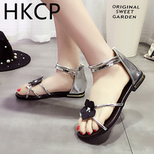 HKCP Fashion 2019 Korean Flat-soled Toe Sandals New Flower Back Zipper for Roman Women in Summer C204