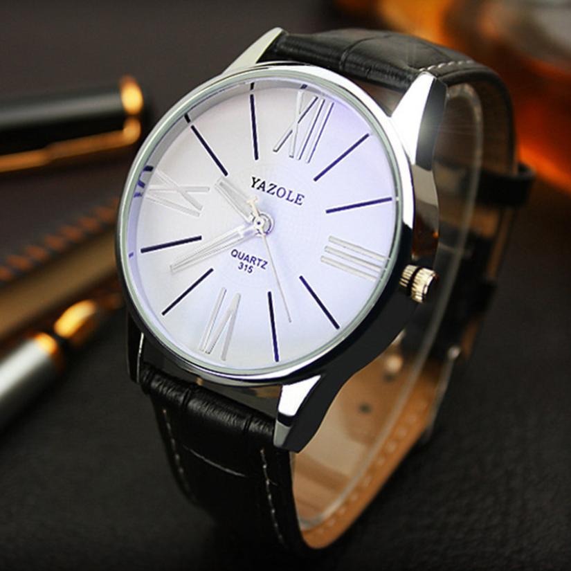 YAZOLE   Watches Men Luxury Fashion Quartz Wristwatches  Leather  Business  Glass  Watches  Relogio Masculino18JUA2