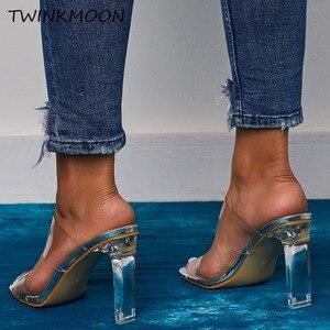 Image 5 - Chaussures claires talons hauts PVC bout ouvert sans lacet femmes néon sandales Sexy fête Transparent 2019 chaussures dété grande taille 35 42