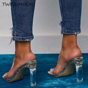Image 5 - Clear Shoes High Heels PVC Open Toe Slip On Women Neon Sandals Sexy Party Transparent 2019 Summer Shoes Plus Size 35 42
