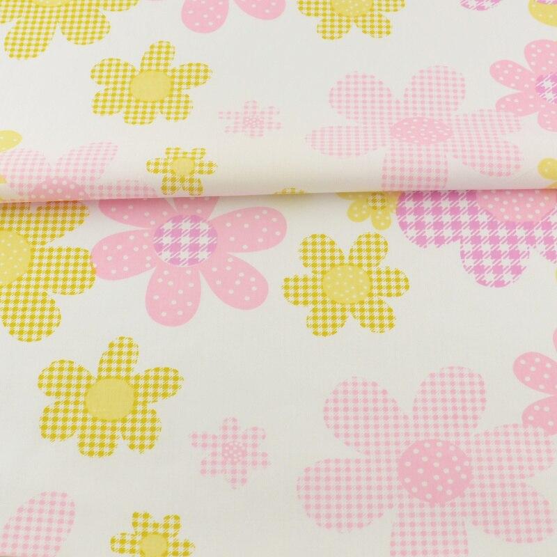 Rosa y Amarillo Impreso Floral Diseños Textiles Para El Hogar Tecido Patchwork S