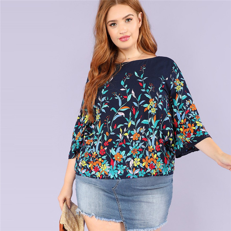 Floral Print Navy Plus Size Round Neck Casual Women Blouse