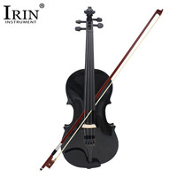 ADDFOO 4/4 Full Size Acoustic Violin Solid Wood Fiddle Black With Case Bow Rosin Stringed Instrument For Kids Students Beginner