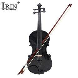 ADDFOO 4/4 violon acoustique pleine grandeur violon en bois massif noir avec étui arc colophane Instrument à cordes pour enfants étudiants débutant