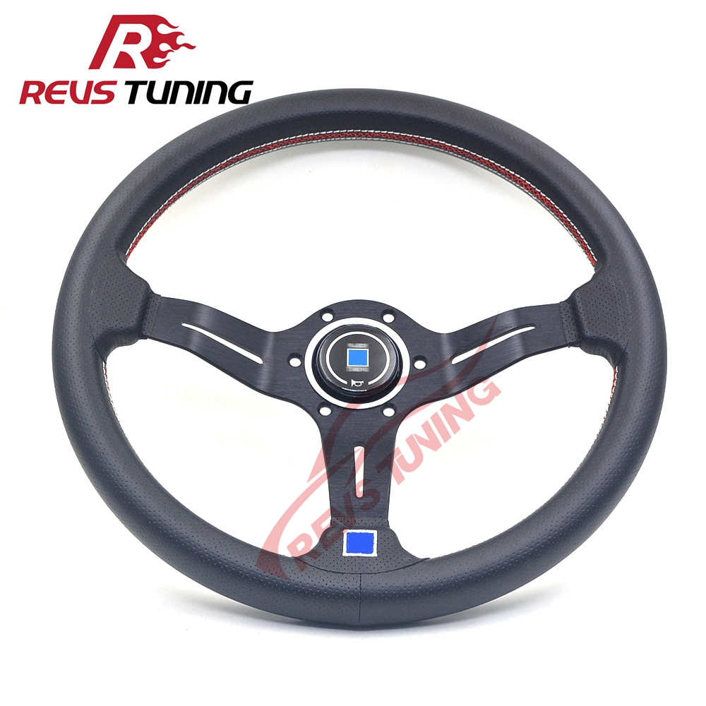 Light Weight Black Deep Dish 14 350mm Real Leather Car Automobile Auto Tuning Drift Rally ND