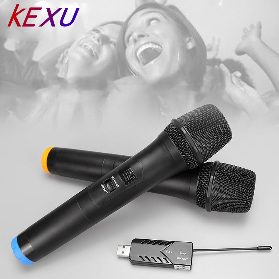 KEXU TP WIRELESS Dual Channel USB Wireless Microphone for Karaoke Conference Lecture Stage Recording Singing online