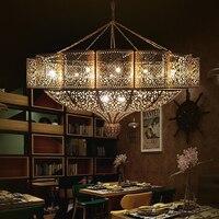 Американский кулон освещение E27 Европейский медь затененный подвесной светильник Винтаж свет для кухня дома ресторан