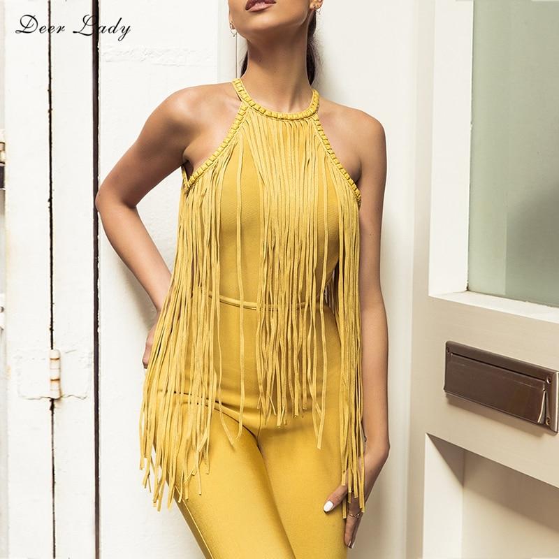 Nouvelle Bandage Bodyduit Cerfs Club Jaune Fringe Gros Barboteuse Hl Black Salopette Moulante Femmes yellow 2018 Dame Mode En Perlé Sexy vOwOEr