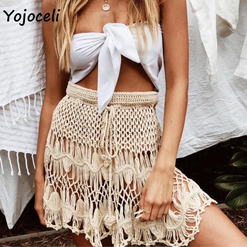 Yojoceli boho beach 2019 summer fishnet skirt bottom women handmade crochet a line mini skirt-in Skirts from Women's Clothing on AliExpress - 11.11_Double 11_Singles' Day 1