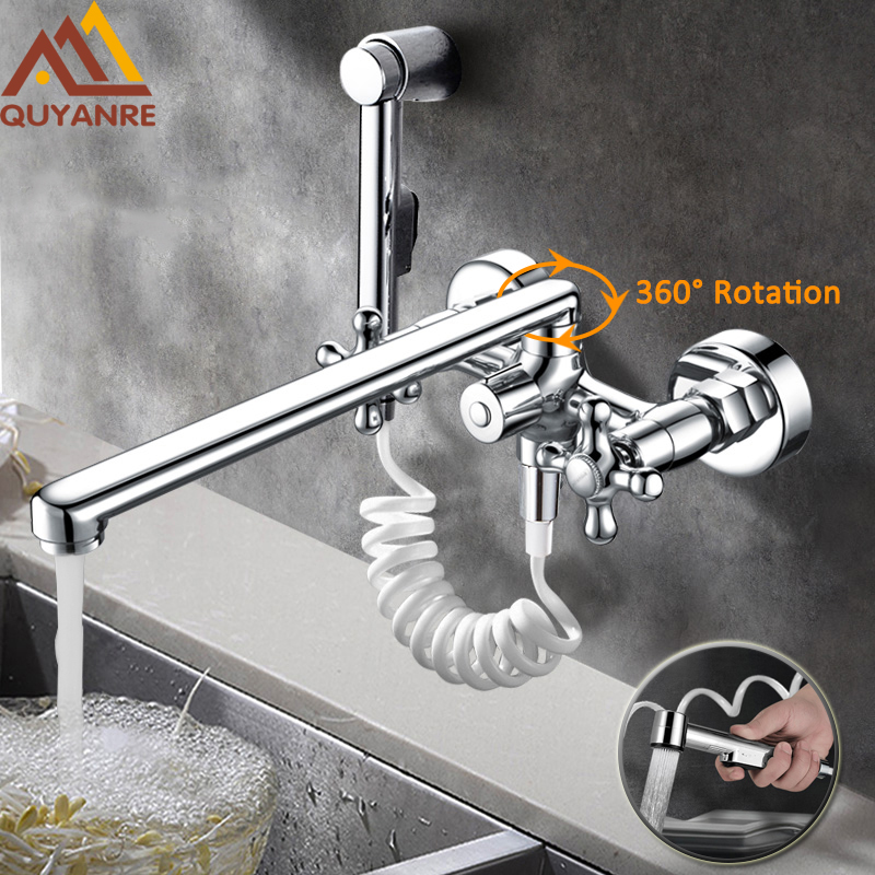 300mm Outlet Pipe Nose Chrome Dual Spout Pull Out Kitchen Faucet Wall Mounted Spray Kitchen Taps With Water Pipes