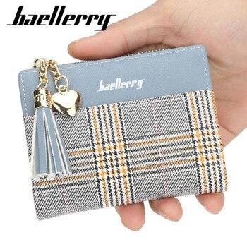 f120b260fbc0 Baellery кожа кисточкой мини Для женщин кошельки женские маленькие кошельки  милый кредитной карты Тонкий дамы кошелек на молнии монета карман .